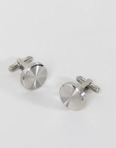 Серебристые круглые запонки с логотипом Emporio Armani - Серебряный
