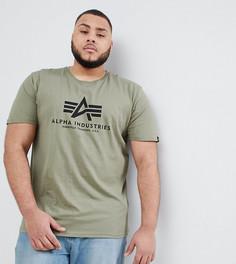 Футболка оливкового цвета с логотипом Alpha Industries PLUS - Зеленый