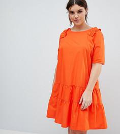Свободное платье с оборкой Junarose - Красный