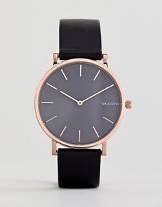 Часы с черным кожаным ремешком Skagen SKW6447 Hagen - 38 мм - Черный