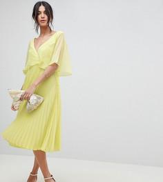 Платье миди с плиссированной юбкой и расклешенными рукавами ASOS DESIGN Tall - Зеленый