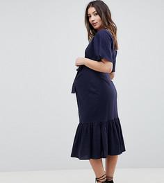 Платье миди на пуговицах с баской ASOS DESIGN Maternity - Темно-синий