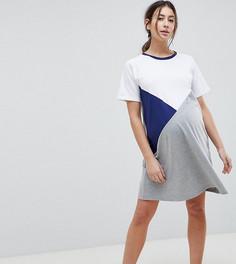 Платье-футболка в стиле колор блок ASOS DESIGN Maternity - Мульти