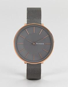 Часы 38 мм цвета пушечной бронзы с сетчатым браслетом Skagen SKW2689 Karolina - Черный