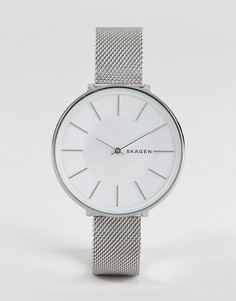Серебристые часы 38 мм с сетчатым браслетом Skagen SKW2687 Karolina - Серебряный