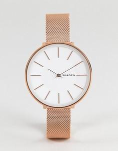 Розово-золотистые часы 38 мм с сетчатым браслетом Skagen SKW2688 Karolina - Золотой