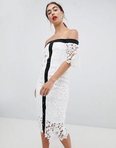 Кружевное платье миди с открытыми плечами River Island - Белый