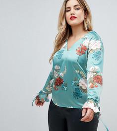 Атласная блузка с цветочным принтом Missguided Plus - Мульти