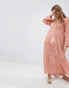 Блестящее платье макси Sundress - Розовый
