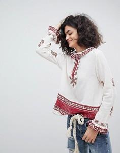 Блузка с вышивкой и оборкой на воротнике Intropia - Кремовый