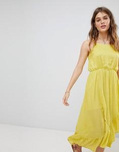 Платье макси на бретельках с оборками Sundress - Желтый