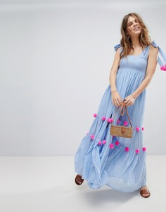 Платье макси с помпонами Sundress - Синий