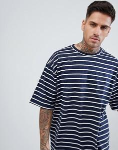 Темно-синяя oversize-футболка в полоску boohooMAN - Темно-синий