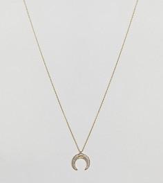 Короткое позолоченное ожерелье с полумесяцем и отделкой камнями Orelia - Золотой