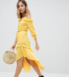 Чайное платье миди с открытыми плечами и присборенными манжетами ASOS DESIGN Petite - Желтый