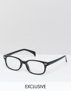 Квадратные очки с прозрачными стеклами Reclaimed Vintage Inspired эксклюзивно для ASOS - Черный