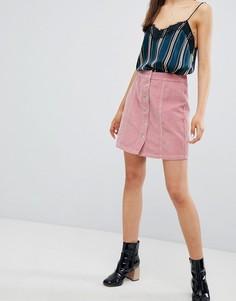 Вельветовая мини-юбка на пуговицах New Look - Розовый