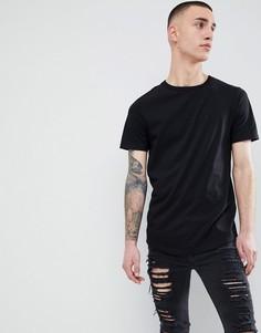 Удлиненная черная футболка с асимметричным краем River Island - Черный