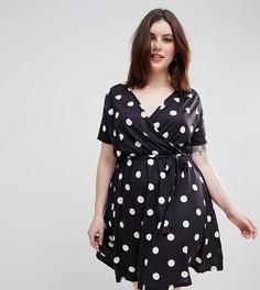 Платье в горошек с запахом Pink Clove - Черный