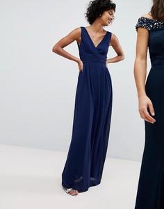 Платье макси с запахом и завязывающимся сзади поясом TFNC - Темно-синий