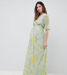 Платье макси с цветочным принтом и разрезом до бедра Hope & Ivy Maternity - Мульти