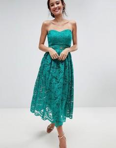 Кружевное платье-бандо миди для выпускного ASOS - Зеленый