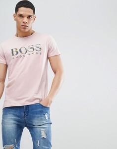 Розовая футболка с принтом банановых листьев BOSS - Розовый