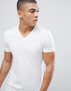 Белая обтягивающая футболка с V-образным вырезом Esprit - Белый