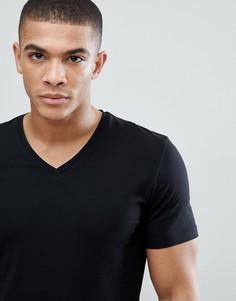 Черная обтягивающая футболка с V-образным вырезом Esprit Organic - Черный