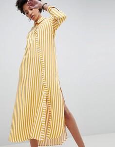 Oversize-рубашка макси в полоску ASOS WHITE - Мульти