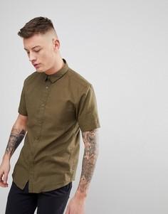 Льняная рубашка с короткими рукавами Only & Sons - Зеленый