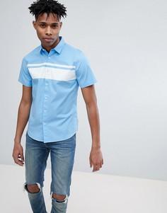 Рубашка с короткими рукавами и отделкой в полоску Only & Sons - Синий