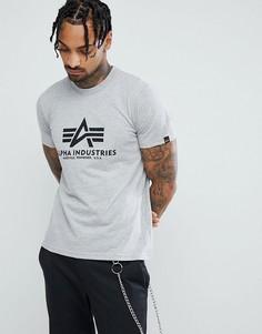 Серая меланжевая футболка с логотипом Alpha Industries - Серый