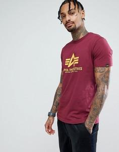 Бордовая футболка с логотипом Alpha Industries - Красный