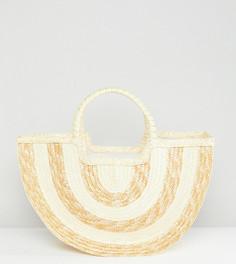 Соломенная пляжная сумка с контрастными полосками South Beach Half Moon - Бежевый