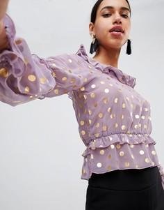 Топ в горошек металлик с оборками Fashion Union Prairie - Фиолетовый