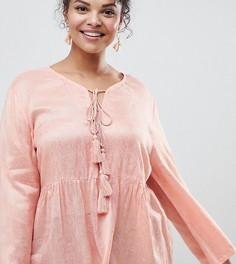 Блузка с цветочным рисунком, завязкой с кисточками и оборкой Glamorous Curve - Розовый