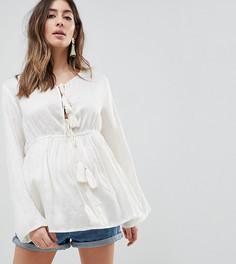 Блузка с цветочным принтом, кисточками на завязке и оборкой Glamorous Bloom - Кремовый