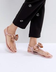 Розовые сандалии с бантом и Т-образным ремешком Ted Baker - Розовый