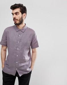 Сиреневая льняная рубашка с короткими рукавами PS Paul Smith - Фиолетовый