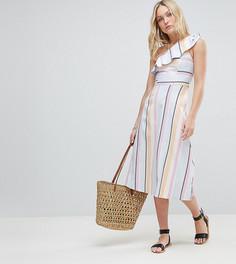 Платье миди на одно плечо в полоску пастельных оттенков ASOS DESIGN Tall - Мульти