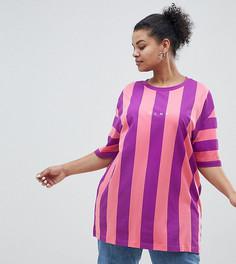 Розово-фиолетовая футболка в полоску Puma эксклюзивно для ASOS Plus - Розовый