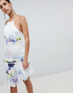 Платье миди с абстрактным принтом и оборкой на подоле ASOS DESIGN - Мульти