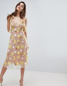 Платье миди с пайетками For Love and Lemons - Желтый