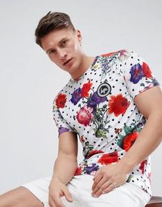 Обтягивающая футболка в горошек с цветочным принтом Hype - Мульти