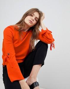 Трикотажное платье с расклешенными рукавами Esprit - Оранжевый