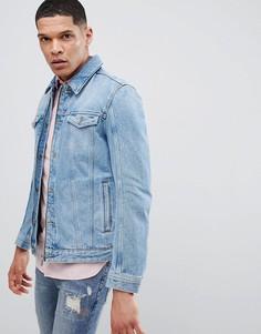 Синяя джинсовая куртка на молнии HUGO - Синий