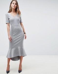 Платье миди с V-образным вырезом и карманами ASOS DESIGN - Серый