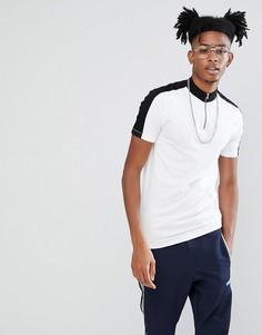 Облегающая футболка с высоким воротом, молнией и контрастными вставками ASOS DESIGN - Белый