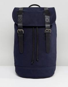 Рюкзак из органического хлопка с отделкой из натуральной кожи ASOS - Темно-синий